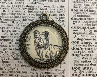 Handmade Vintage Dictionary Dog Necklace - Terrier