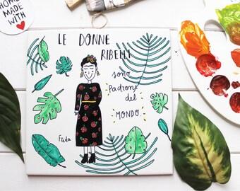 Mattonella in ceramica illustrata a mano