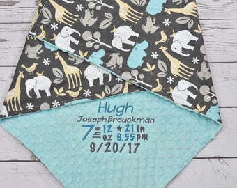 Personalized baby blanket - Customised Minky baby blanket - Giraffe baby blanket - Giraffe nursery - Personalized minky blanket - Giraffe
