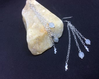 Moon and moonstone dangle earrings