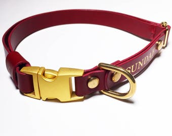 Leather Dog Collar Personalized Red Quick Release Name Custom Monogram Avaloncraft Henbury Dog Collar