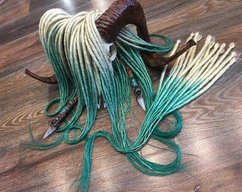From blond to azure (green,blue) ombre x10 or FULL SET Single OR Double Ended Synthetic Dreadlocks Dread Fall Hair Extensions 25 inch