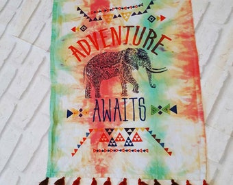 Tie dye tea towel, hippie kitchen, hippie home decor, dish cloth, tiedye decor, boho chic elephant, housewarming gift, tapestry wall hanging