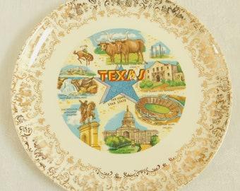 Vintage State of Texas Souvenir Plate, Travel Plate, Vacation Plate, Texas Longhorn Steer, The Alamo, Cotton Bowl, Sam Houston, Capital Peak