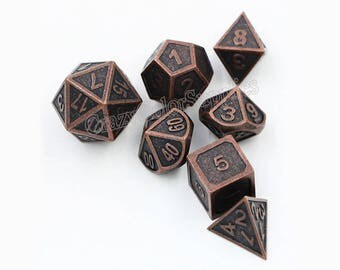 Dungeons and Dragons Dice Set-dnd dice-Metal Dice-Polyhedral Dice Set-rpg dice set-d&d dice-d20 RPG Role Playing Games-7 dice-Choose Color