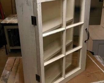 SUMMER SALE Medicine cabinet - rustic display cabinet - window wall cabinet - rustic wood windows - 6 pane window cabinet - shabby chic cabi