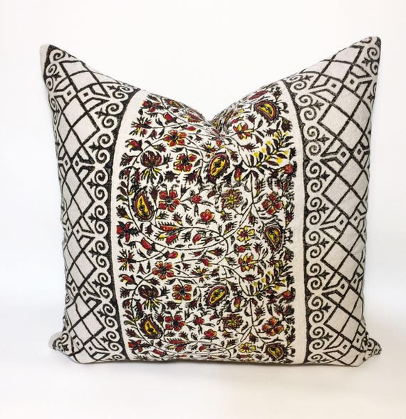 "traditional block printed pillow | decorative cushions|home decor| linen pillowcase|pillow cover 18""x18"""