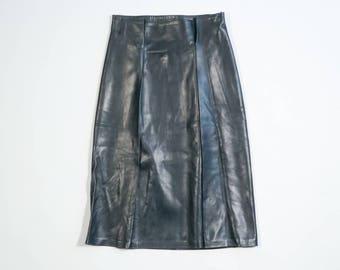 YVES SAINT LAURENT - Leather longuette skirt