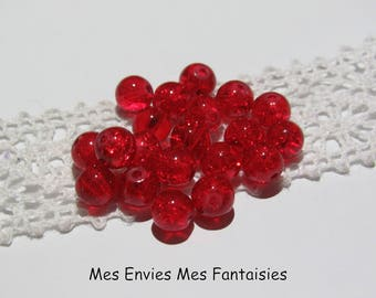 20 6mm red cracked glass beads
