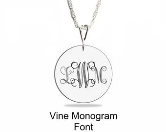 Monogram Sterling Silver Necklace, Personalized Round Pendant, Vine Monogram Font, Valentines, Mother's Day, Anniversary, Graduation, Shower