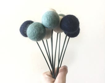 Felt Ball Flowers- Felt Posies- Nursery Decor- Kids Bedroom Decor- Customised Colours