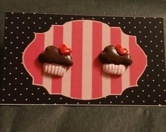Valentine cupcake earrings