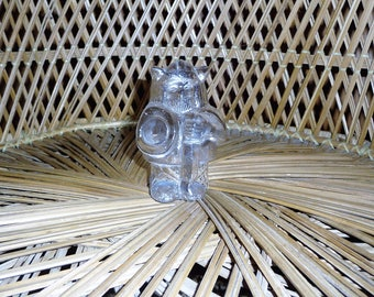 Vintage Norwegian Magnor Glass Viking Figurine Figure Statue Paperweight Crystal