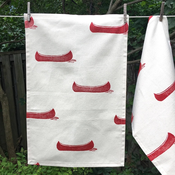 2 ORGANIC tea towels, hand printed, one of a kind, set of 2, hostess gift, red kitchen accent, canoes, cool tea towels, kitchen towels