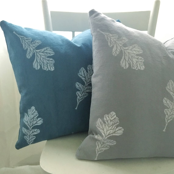 Organic cotton canvas pillow covers, oak leaves on soft grey and soft denim. Buy one or both!
