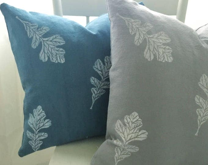 Organic cotton canvas pillow covers - Oak leaves on soft grey and soft denim blue