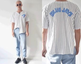 1993 Major League Baseball Blue Jays Button Up Shirt Jersey / Top Heavy Large