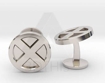 X-Men Logo Cufflinks | Xmen Cuff Links | Superhero Wedding Cufflinks | X Men Geek Cuff Links | Engraved Cufflinks