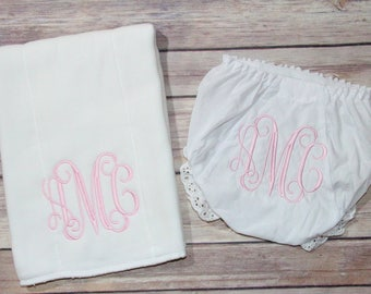 Baby Girl Monogrammed Bloomers/Diaper Cover Burp Cloth Set