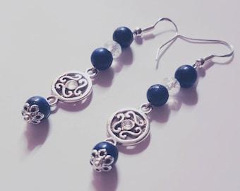 Lapis lazuli and Austrian crystal earrings