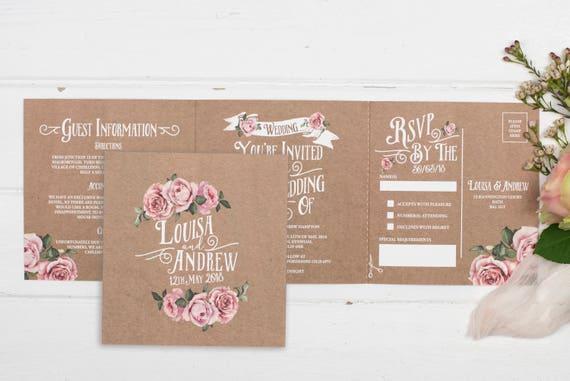 Rustic Wedding Invitation - Double-Folded Kraft Rustic Rose