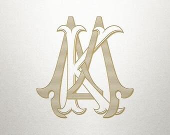 Interlocking Wedding Monogram - KM MK - Wedding Monogram - Vintage