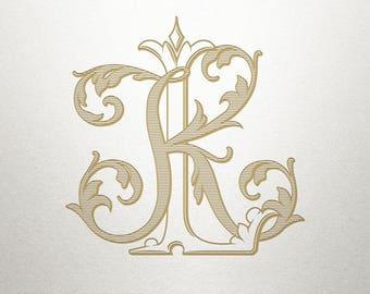 Interlocking Wedding Monogram - KL LK - Wedding Monogram - Vintage
