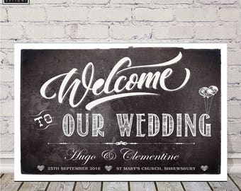 Welcome to Our  Wedding A3 PRINT, personalised wedding decor greeting sign scandi black and white, chalkboard style