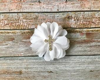 1st Communion Hair Clip/Baptism Hair Clip/Christening Hair Clip/White Hair Clip/Cross Hair Clip/Hair Clip/Baptism/Christening/Clip/Hair Bow