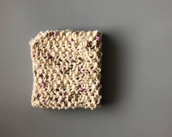 100% Cotton hand knitted dish cloth, wash cloth, eco friendly, green, reusable. Handmade