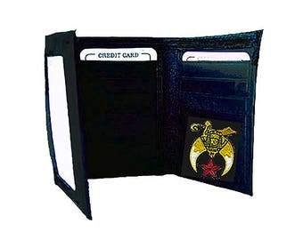 SHRINER WALLET - Tri Fold - High Quality Leather - Embroidered Logo - NEW