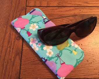 Eyeglass Case Padded LANTERNS  Quilt Fabric Large enough for SUNGLASSES  New Handmade