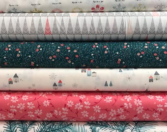 Bundle of 8 Fabrics from the Little Town Collection by Amy Sinibaldi for Art Gallery Fabrics, Choose the Cut, Winter Floral
