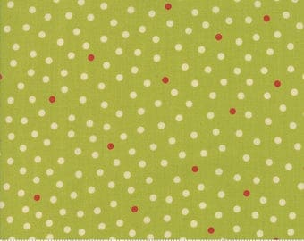 Lucky Day Dots in Light Green Clover Cotton Fabric by Momo for Moda, Japanese Fabric, Polka Dot