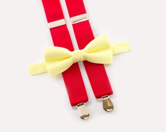 wedding boys outfit, light yellow bow tie & red suspenders, ring bearer set