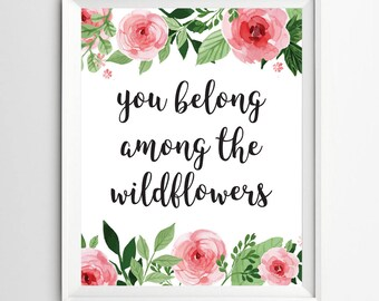 wildflower quote, girl nursery decor, baby wall decor, Wildflower print, floral home decor, nursery quote, printable floral wall art