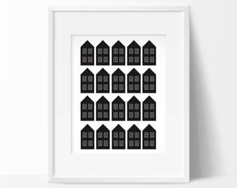 Scandinavian Art, Black and White Decor, Scandinavian Print, Black and White Wall Print, Nordic Art Print, Scandinavian Art, Nordic Design