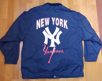 MLB New York Yankees jacket, Starter Apex One vintage baseball windbreaker, 90s hip-hop clothing 1990s hip hop shirt OG gangsta rap, size XL