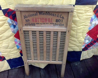 Wash Board, Farm house decor, Rustic Deco, National Washboard Co 801 Chicago, Memphis