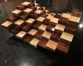 Multilevel 3D Handmade Wooden Chessboard without Chess Pieces