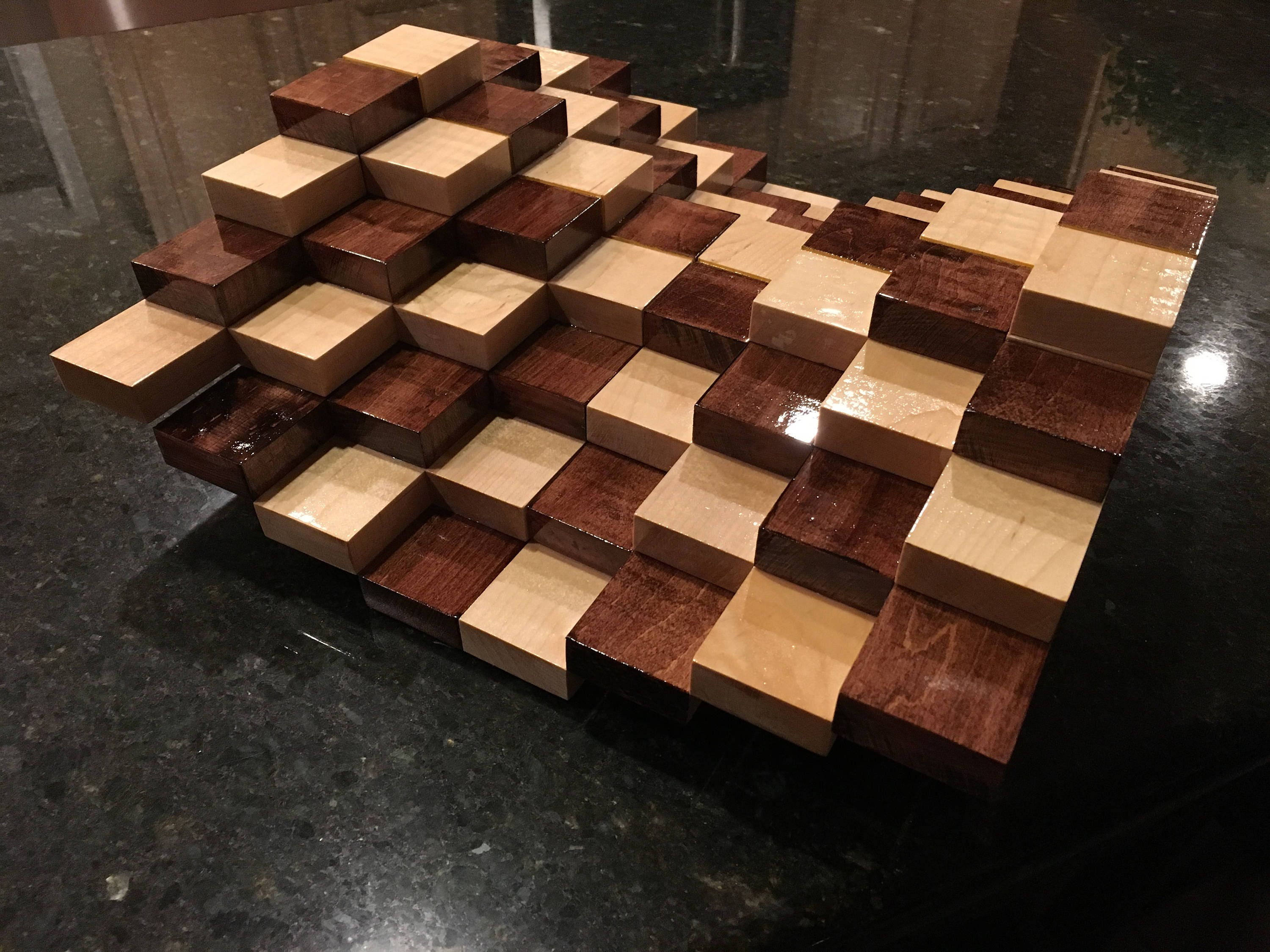 Multilevel 3d handmade wooden chessboard without chess pieces - Multilevel chess ...