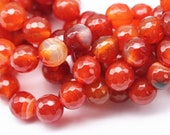 Faceted Red Stripe Agate Gemstone Round Loose Beads 15.5 Inch per Strand, Size 6mm/8mm/10mm.GEM-AGA-180507-03