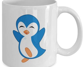 HAPPY BLUE PENGUIN Mug - Adorable Penguin Lover Gift - Big Image! - 11 oz white coffee tea cup