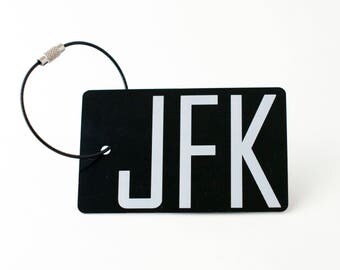 JFK Airport Luggage Tag - FREE SHIPPING, Black Personalized Luggage Tag, Back Pack Tag, Custom Luggage Tag,  Gift for Him, Gift for Her