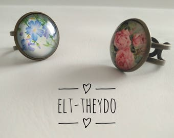 Spring ring, Adjustable ring, Flower ring, Photoglass Cabochon