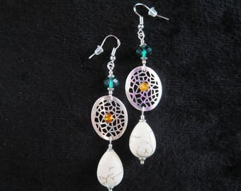 filigree with amber and swarovski crystal beads earrings