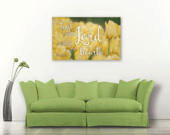Trust in the Lord, Bible verse on canvas, Bible verse art, Christian wall art, Bible verse canvas art, Proverbs 3:5