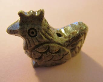 Carved Soapstone Chicken-Rooster-Hen-Bird Focal Bead, 1 3/8""