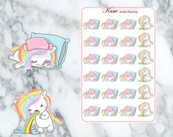 Sick Day Unicorn Planner Stickers