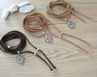 Brown Beige Tan suede choker necklace, Scarab Charm choker necklace, Suede Choker, Leather Wrap Tie Up Bolo Necklace, Bohemian Necklace